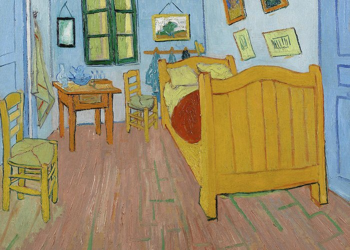Vincent Van Gogh Greeting Card featuring the painting The Bedroom by Vincent van Gogh
