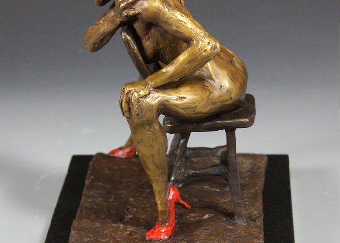 Female Nude Greeting Card featuring the sculpture The Red Heels by Dan Earle
