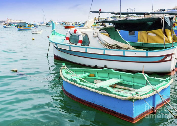 Malta Greeting Card featuring the photograph Traditional Boats At Marsaxlokk Harbor In Malta by Otto