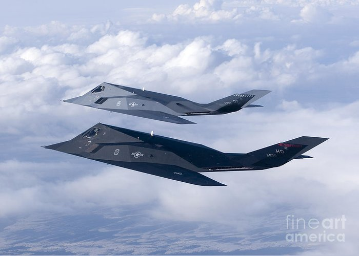 Color Image Greeting Card featuring the photograph Two F-117 Nighthawk Stealth Fighters by HIGH-G Productions