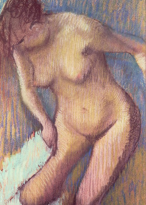 Impressionist; Nude; Female; Towel; Femme;essuyant; Essuyer; Toilette Greeting Card featuring the pastel Woman Drying Herself by Edgar Degas