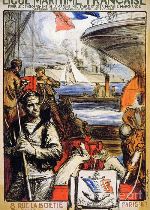 1918 Greeting Card featuring the photograph World War I: French Poster by Granger