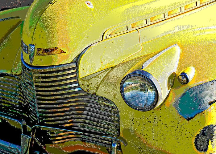 Old Car Greeting Card featuring the photograph '40 Chevy by John Magor