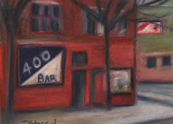 Bar Greeting Card featuring the painting 400 Bar Minneapolis by Todd Peterson