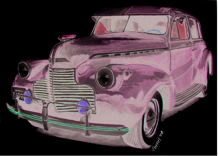 Chevy Greeting Card featuring the painting 41 Chevy by Ferrel Cordle