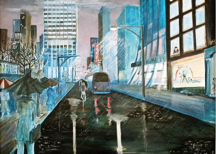 Street Scape Greeting Card featuring the painting 42nd Street Blue by Steve Karol