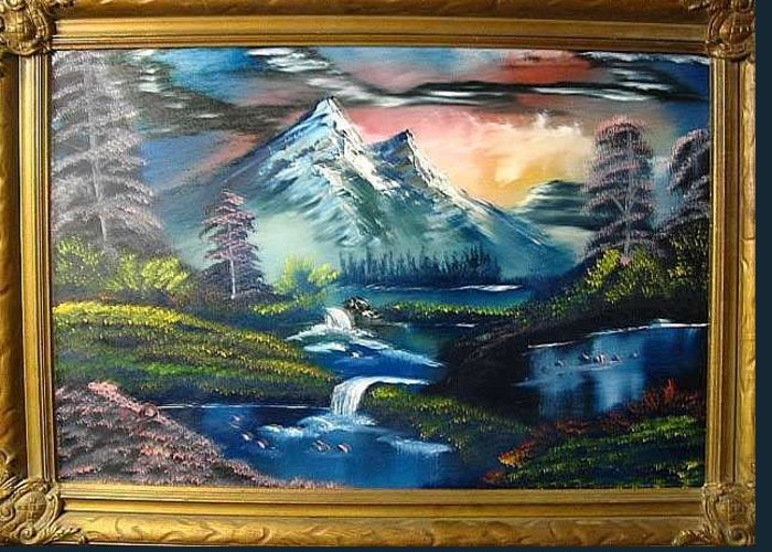 New Original 16x24 Oil Landscape By Artist Bryan Perry. This One Is Called Mt Falls Greeting Card featuring the painting Mt Falls 16x24 By Artist Bryan Perry by Bryan Perry