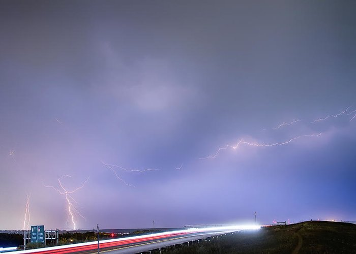 Lightning Greeting Card featuring the photograph 47 Street Lightning Storm Light Trails View by James BO Insogna