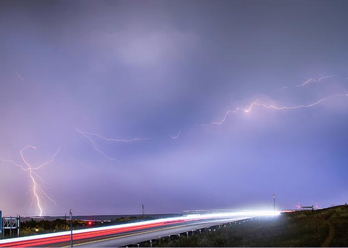 Lightning Greeting Card featuring the photograph 47 Street Lightning Storm Light Trails View Panorama 1 by James BO Insogna