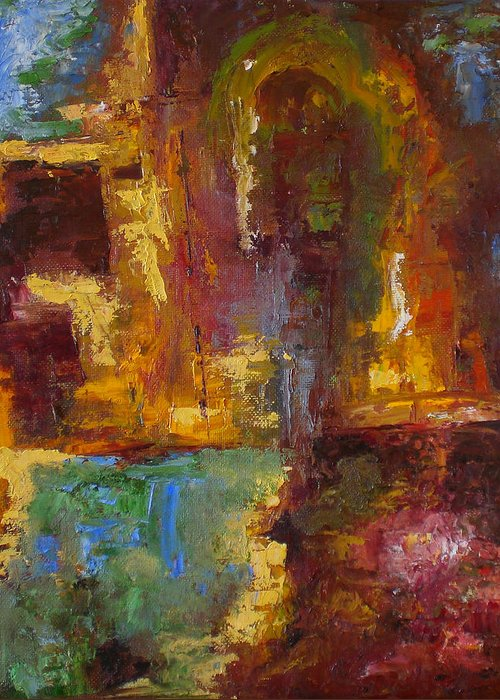 Abstract Greeting Card featuring the painting 48 by Lou Ewers