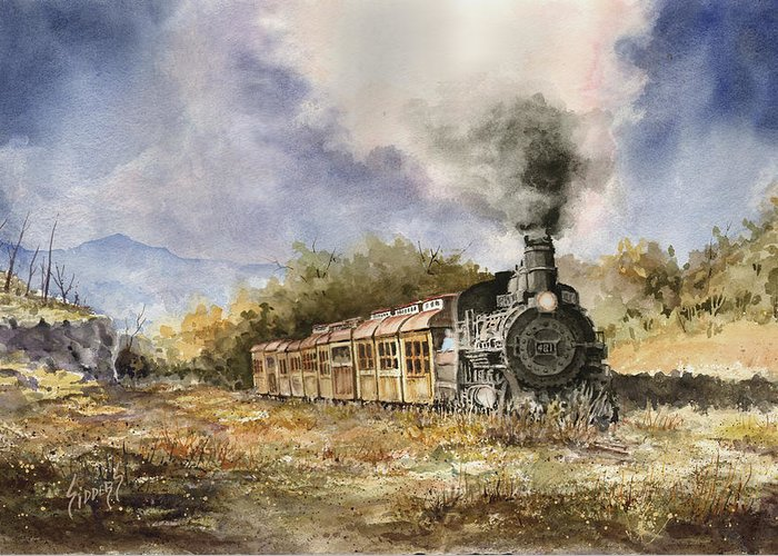 Train Greeting Card featuring the painting 481 From Durango by Sam Sidders
