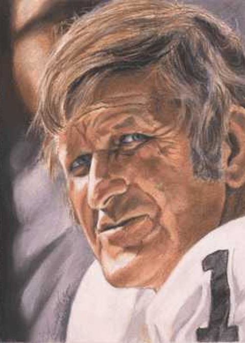 Portrait Greeting Card featuring the painting The Old Man - George Blanda by Kenneth Kelsoe