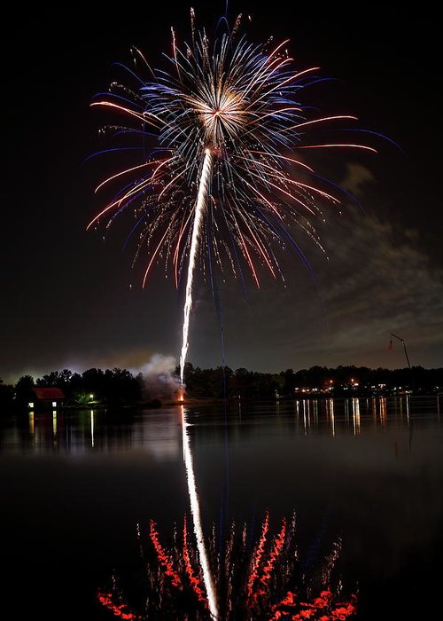 Fireworks Greeting Card featuring the photograph 4th Of July by Lone Dakota Photography