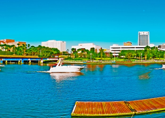 Tampa Panorama Greeting Card featuring the photograph 4x1 Downtown Tampa Panorama by Rolf Bertram