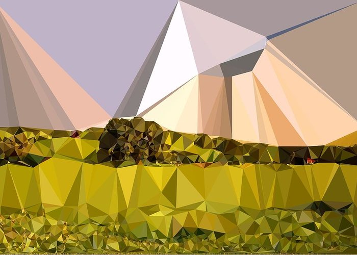 Abstract Art Greeting Card featuring the digital art Abstract Art Landscape Of Triangles by Elena Kosvincheva