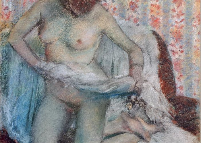 After The Bath Greeting Card featuring the pastel After The Bath by Edgar Degas