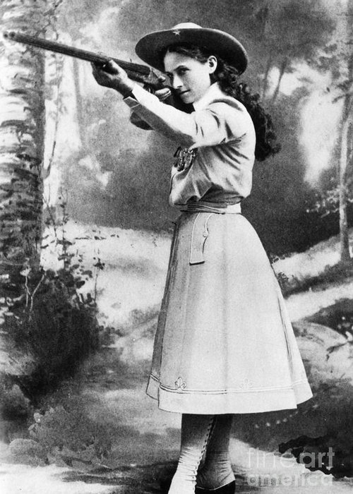19th Century Greeting Card featuring the photograph Annie Oakley (1860-1926) by Granger