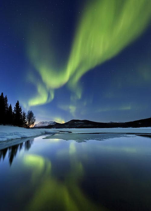 Aurora Borealis Greeting Card featuring the photograph Aurora Borealis Over Sandvannet Lake by Arild Heitmann