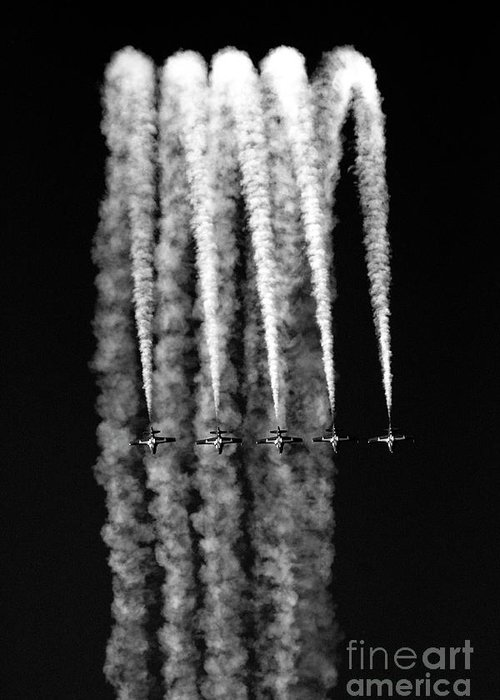 Blue Angels Greeting Card featuring the photograph 5 Blue Angels Black White by Chuck Kuhn