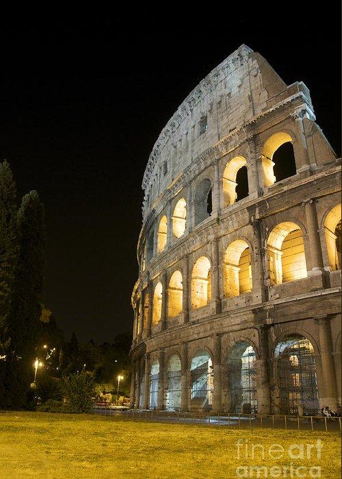 Worth Greeting Card featuring the photograph Coliseum Illuminated At Night. Rome by Bernard Jaubert