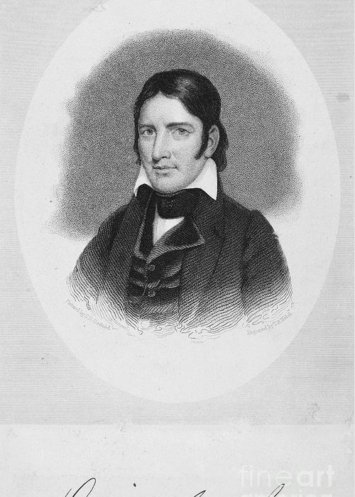 19th Century Greeting Card featuring the photograph Davy Crockett (1786-1836) by Granger