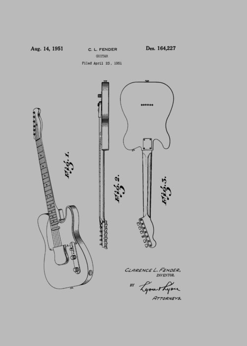 Fender Greeting Card featuring the photograph Fender Guitar Patent From 1951 by Chris Smith