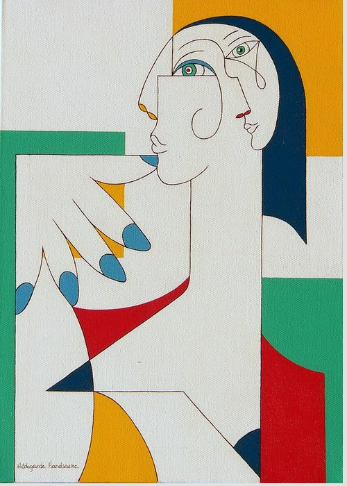Portrait Greeting Card featuring the painting 5 Fingers by Hildegarde Handsaeme