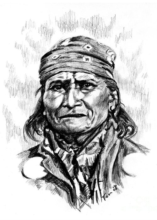 Geronimo Greeting Card featuring the drawing Geronimo by Toon De Zwart