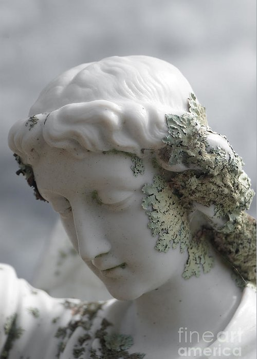 Angel Greeting Card featuring the sculpture Grieving Angel by Yurix Sardinelly