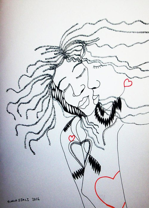 Jesus Greeting Card featuring the drawing Love Is A Heart by Gloria Ssali