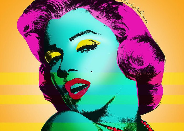 Pop Art Greeting Card featuring the painting Marilyn Monroe by Mark Ashkenazi