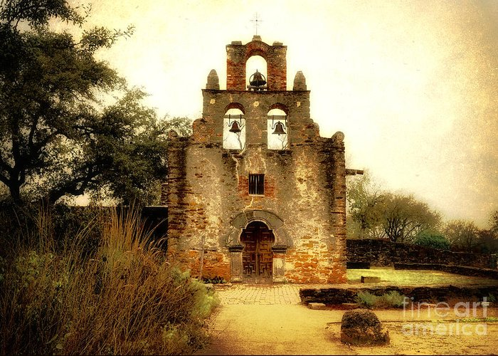Missions Greeting Card featuring the photograph Mission Espada by Iris Greenwell