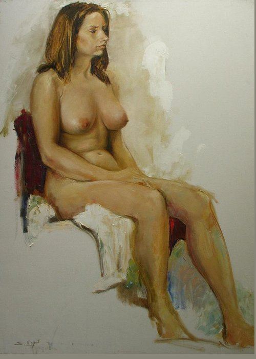 Model Study Greeting Card featuring the painting Model Study by Tigran Ghulyan