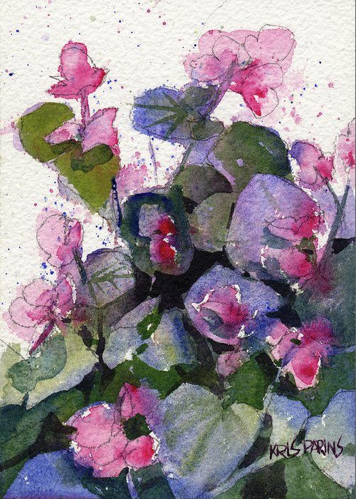 Kris Parins Greeting Card featuring the painting My Annual Begonias by Kris Parins