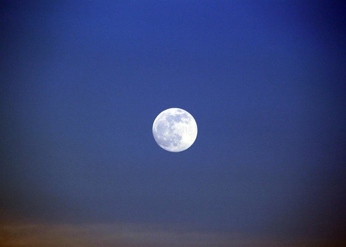 Moon Photography Greeting Card featuring the photograph 5 O'clock Moon by Evelyn Patrick