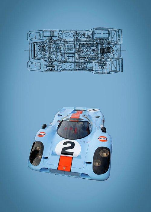 Porsche Greeting Card featuring the digital art Porsche 917 by Roger Lighterness