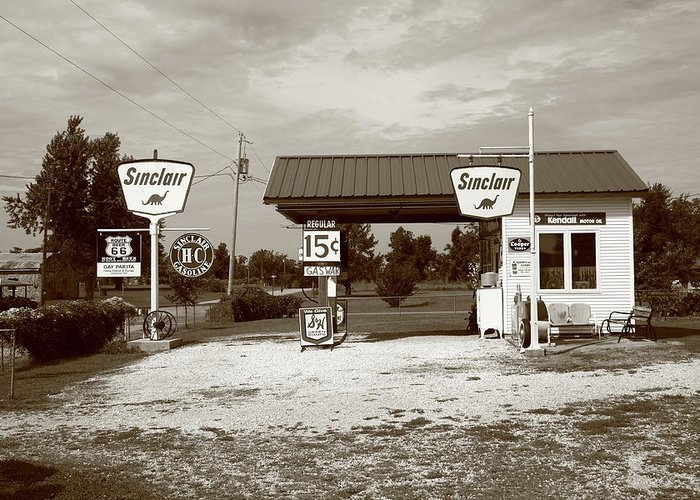 66 Greeting Card featuring the photograph Route 66 Sinclair Station by Frank Romeo