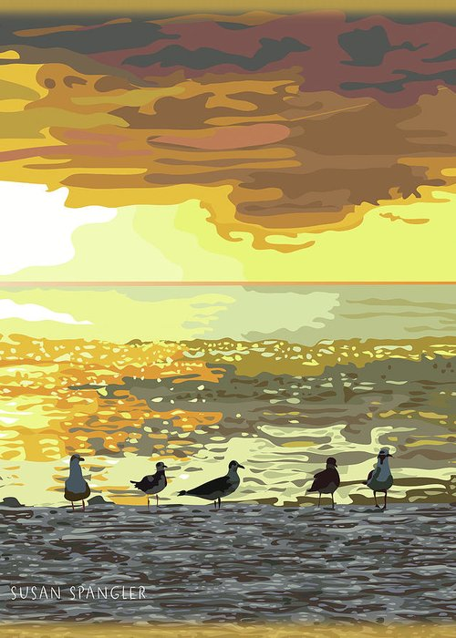 Living Room Greeting Card featuring the digital art Seagulls At Sunset by Susan Spangler