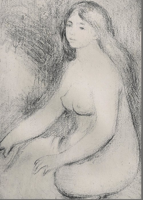 Renoir Greeting Card featuring the drawing Seated Bather 5 by Pierre Auguste Renoir