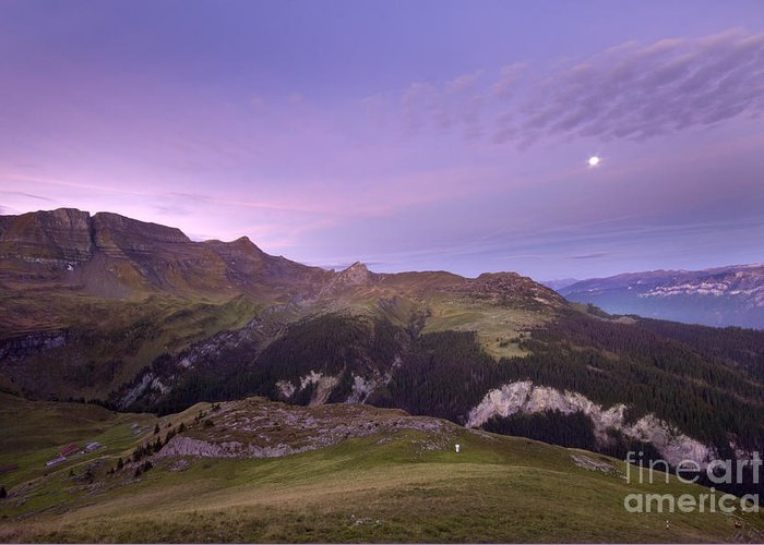 Greeting Card featuring the photograph Swiss Alps In The Night by Angel Ciesniarska