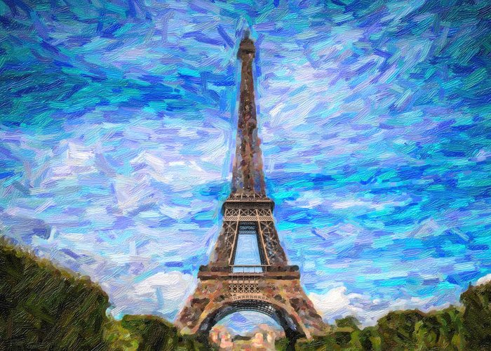 Landmark Greeting Card featuring the pyrography The Eiffel Tower by Artistic Panda