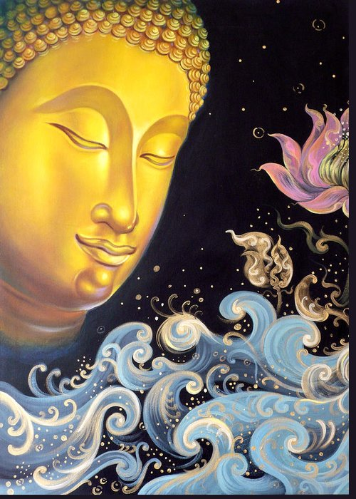 Acrylic Greeting Card featuring the painting The Light Of Buddhism by Chonkhet Phanwichien