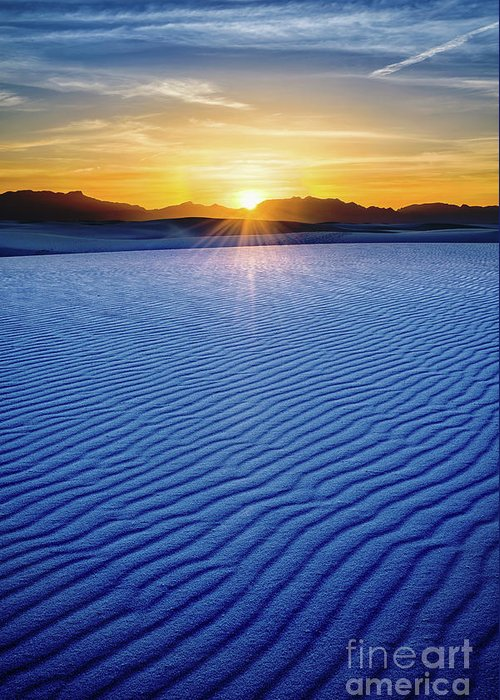 White Sands National Monument Greeting Card featuring the photograph The Unique And Beautiful White Sands National Monument In New Mexico. by Jamie Pham