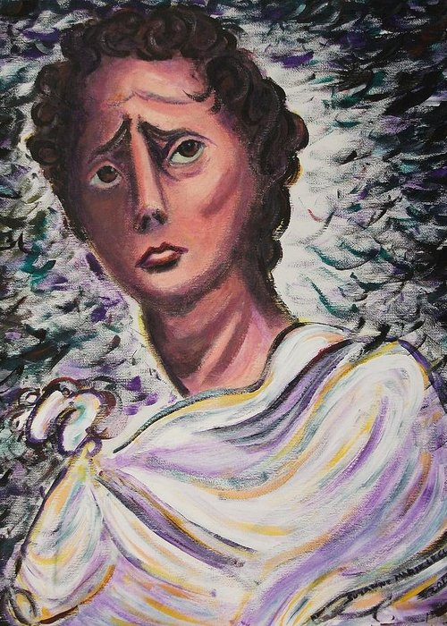 Statue Greeting Card featuring the painting Untitled by Suzanne Marie Leclair