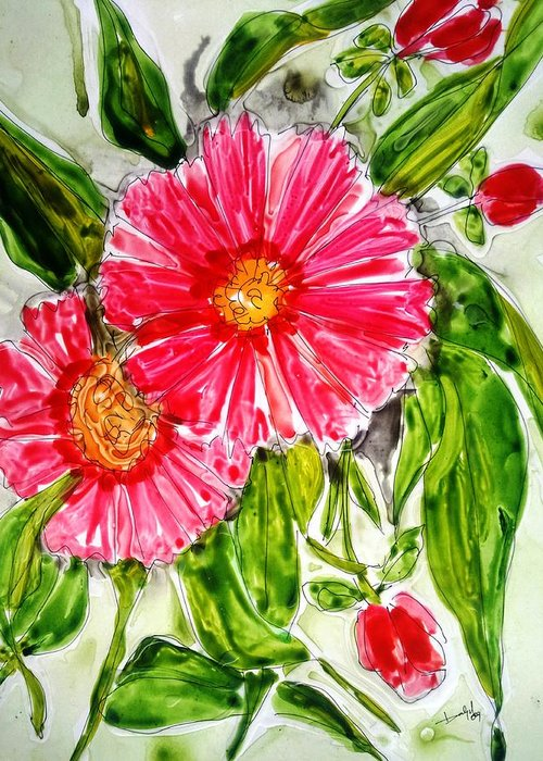 Abstract Flowers Floral Botanical Nature Greeting Card featuring the painting Divine Flowers by Baljit Chadha