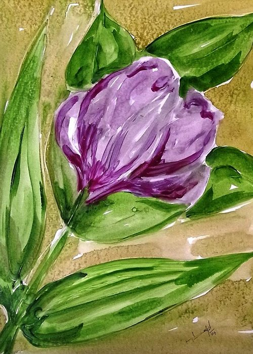 Abstract Flowers Nature Greeting Card featuring the painting Divine Flowers by Baljit Chadha