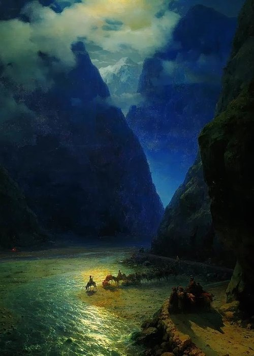 Ivan Constantinovich Aivazovsky Greeting Card featuring the painting Landscape by MotionAge Designs