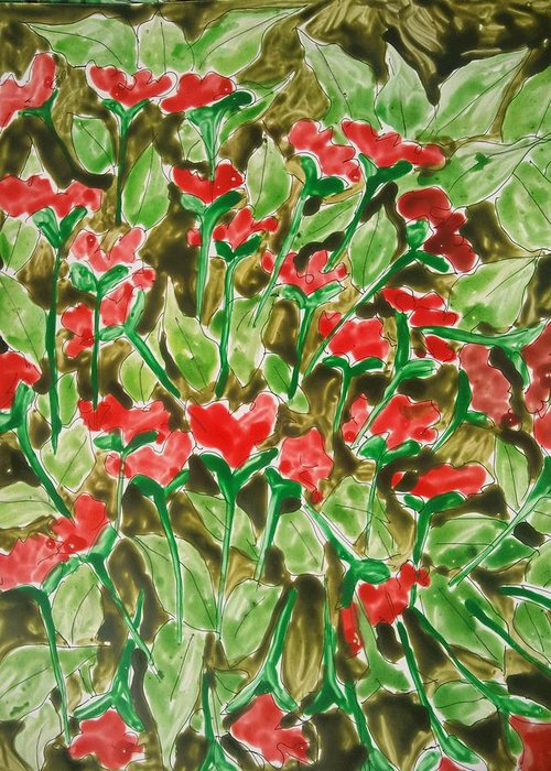Abstract Flowers Greeting Card featuring the painting Divine Flowers by Baljit Chadha