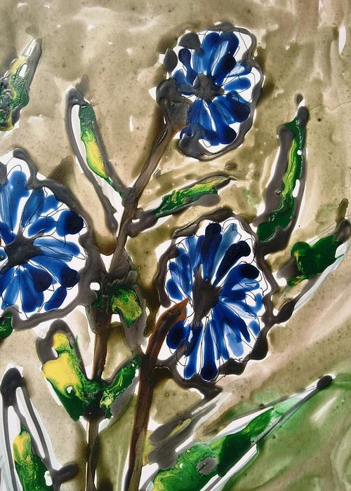 Abstract Flowers Nature Blue Greeting Card featuring the painting Divine Flowers by Baljit Chadha