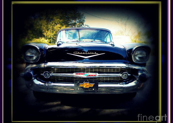 Car Greeting Card featuring the photograph '57 Chevy by Leslie Revels